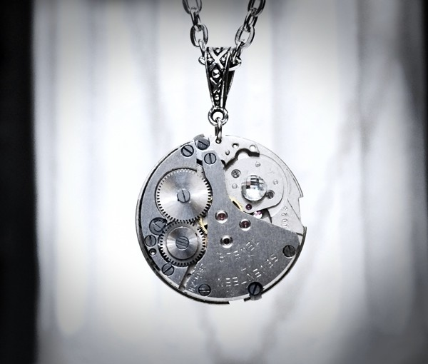 Steampunk silvered jewelry necklace