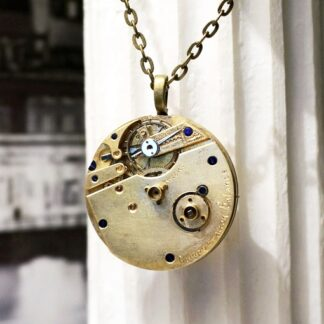 Gold steampunk necklace jewelry