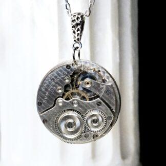 Steampunk silver vintage watch necklace