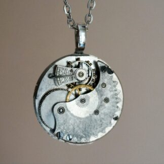Steampunk silver vintage watch necklace