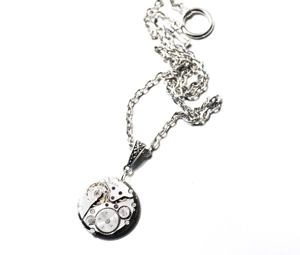 Steampunk silver vintage necklace