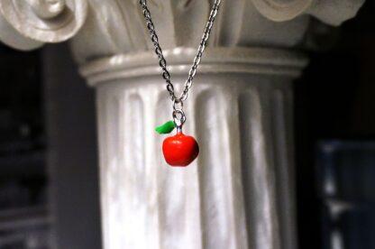 Red apple adam eva pendant