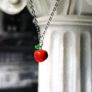 Red apple adam eva pendant