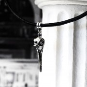 Gothic real leather choker necklace metal bird's beak