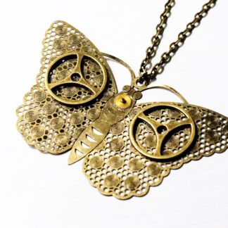 Steampunk pendant necklace butterfly