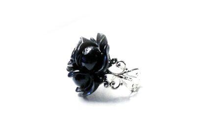 gothic ring black rose wedding gift