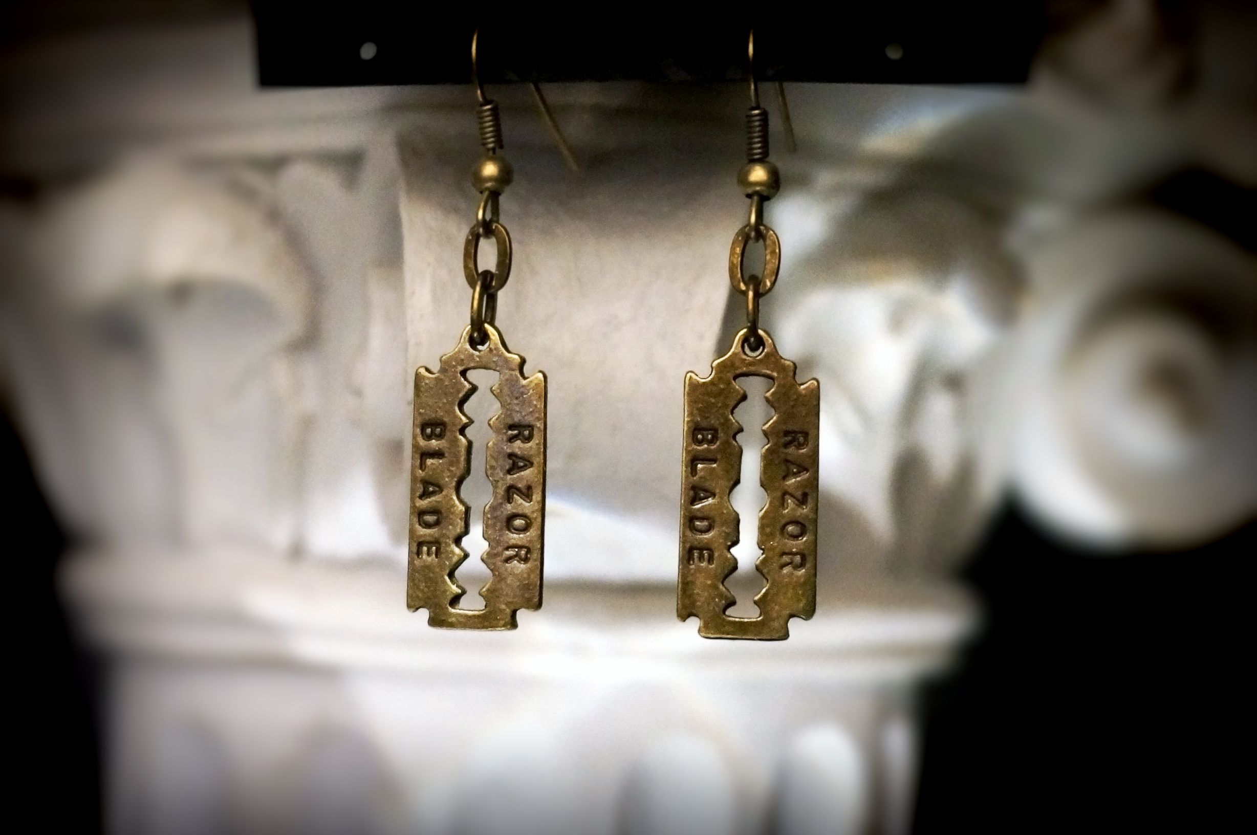 steampunk bdsm earrings blade