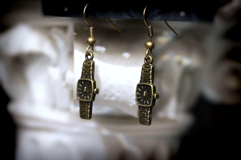 steampunk bdsm watch earrings