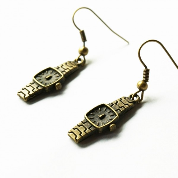 steampunk bdsm watch earrings