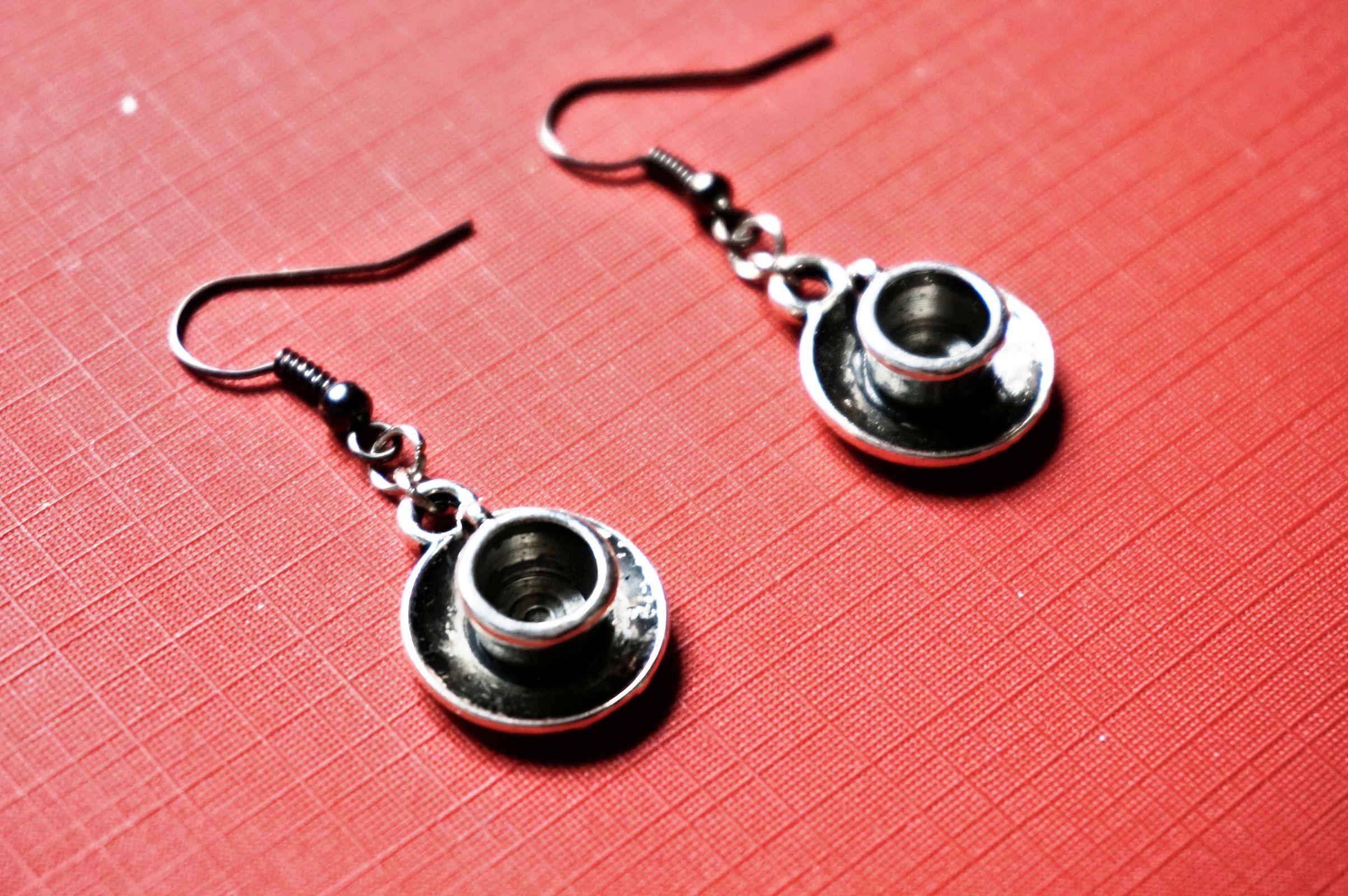 steampunk bdsm tea cup earrings