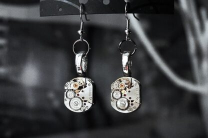 steampunk earrings jeweled with rubies
