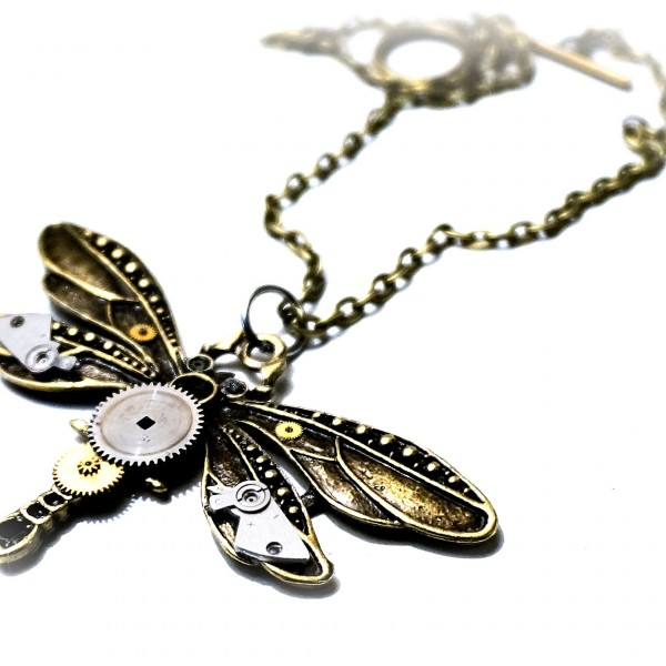 Steampunk Jewelry Pendant Dragonfly necklace