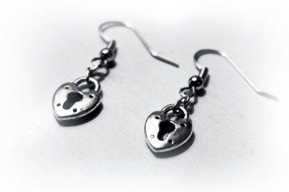 БДСМ серьги сердце замок ключ подарок девушке