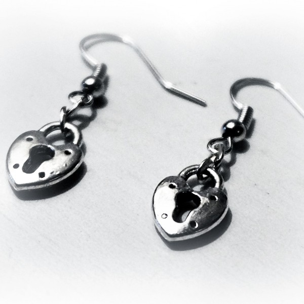 BDSM Earrings Key Heart lock wedding anniversary Gift for women girlfriend wife