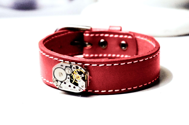 Steampunk BDSM jewelry men's genuine leather bracelet