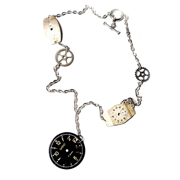 Steampunk gothic necklace industrial pendant