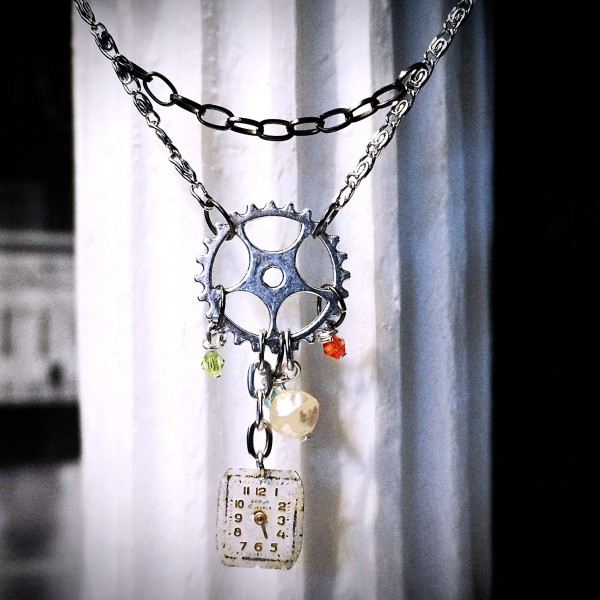 Steampunk gothic necklace industrial pendant burning man clothing