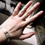 BDSM jewelry silver bracelet cuff submissive dominant lock