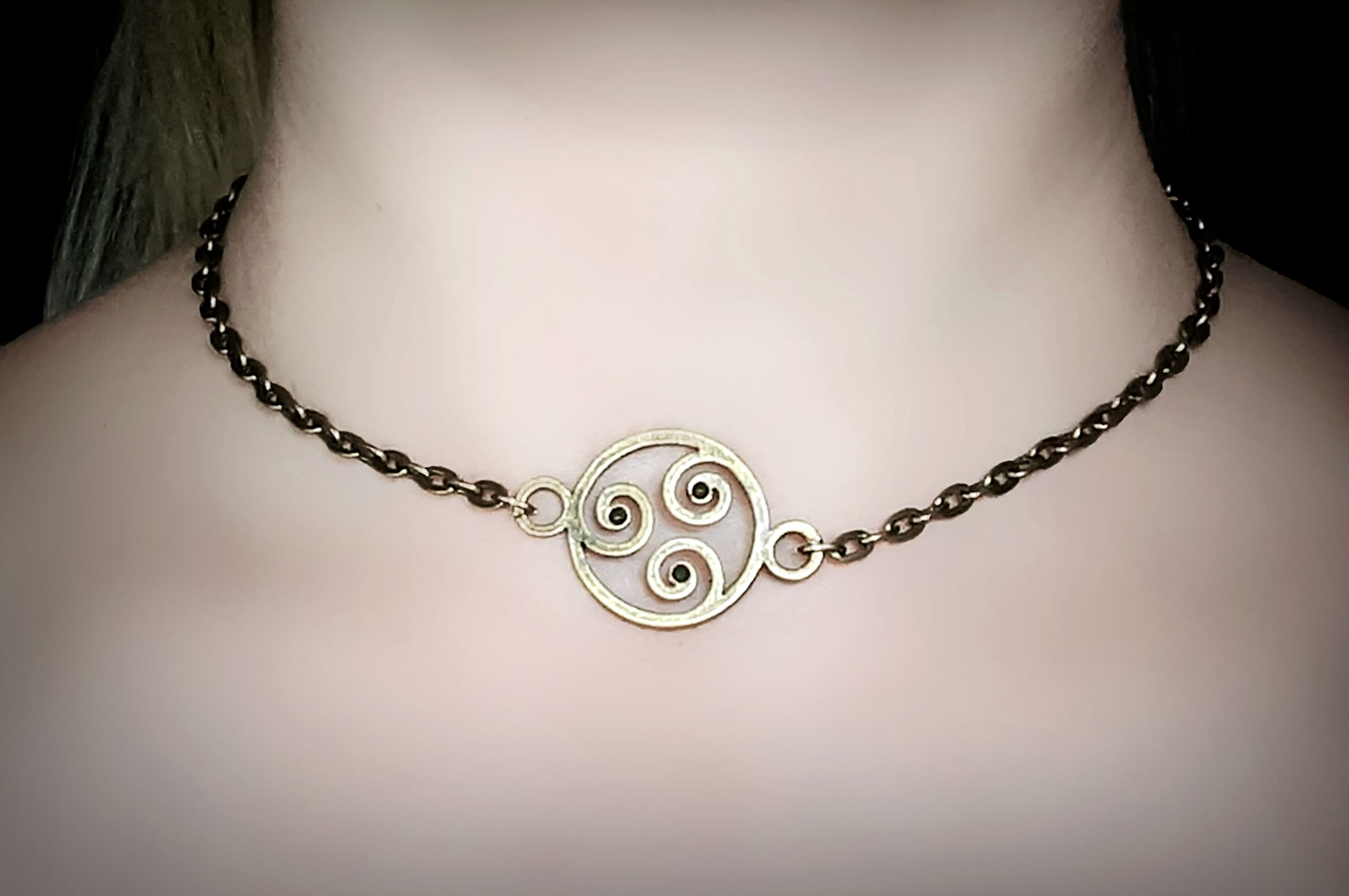 BDSM symbol triskele collar triskelion necklace