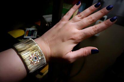 Steampunk jewelry bracelet hippie psychedelic flower