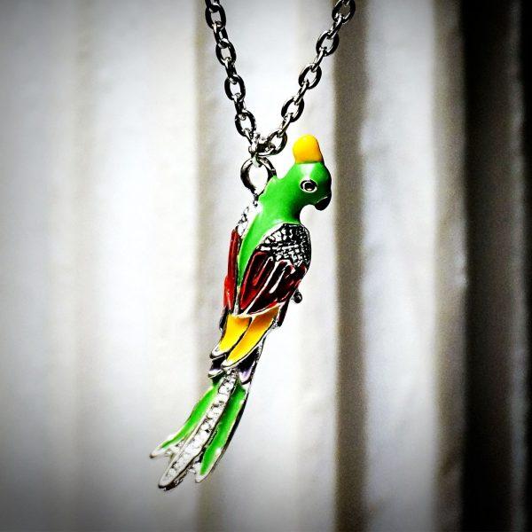 Hippie chic boho style necklace pendant parrot bird