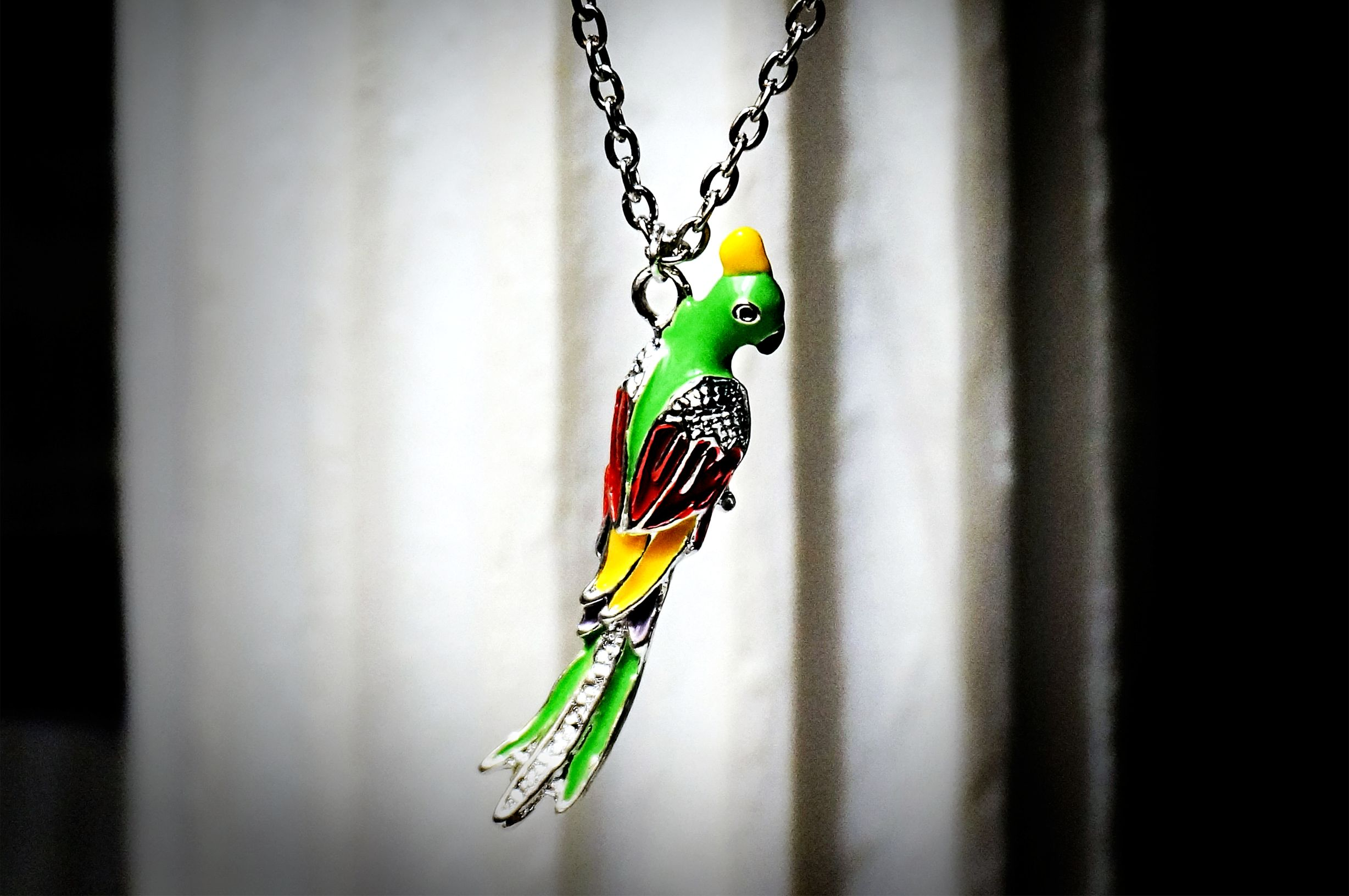 Hippie chic boho style necklace pendant parrot bird