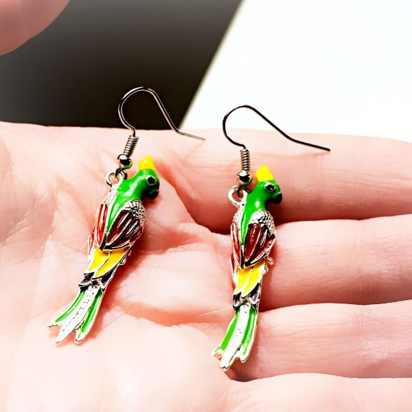 Hippie chic boho style earrings parrot bird