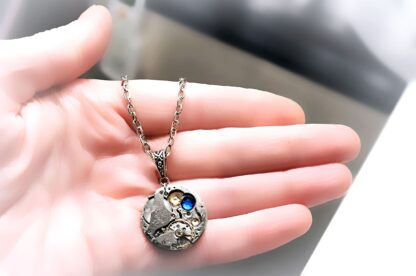 Steampunk jewelry necklace pendant silver