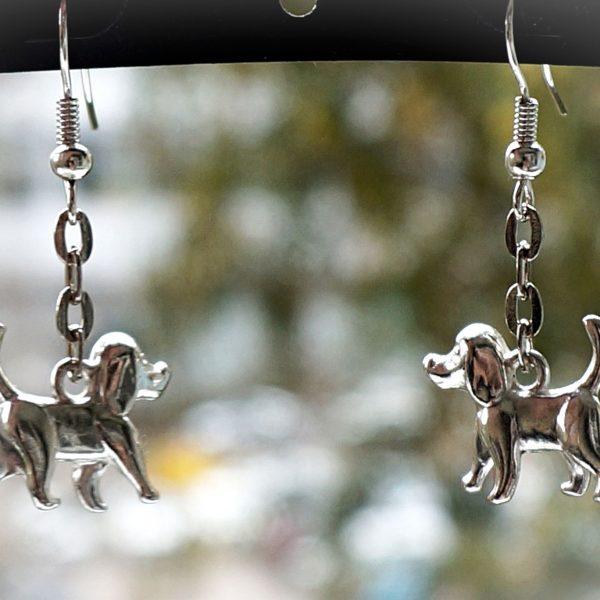 Hippie chic boho style earrings dog