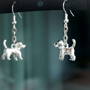 Hippie chic boho style earrings dog