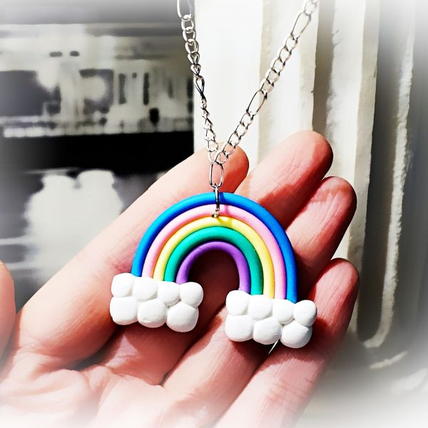 Hippie hippies clothing rainbow necklace