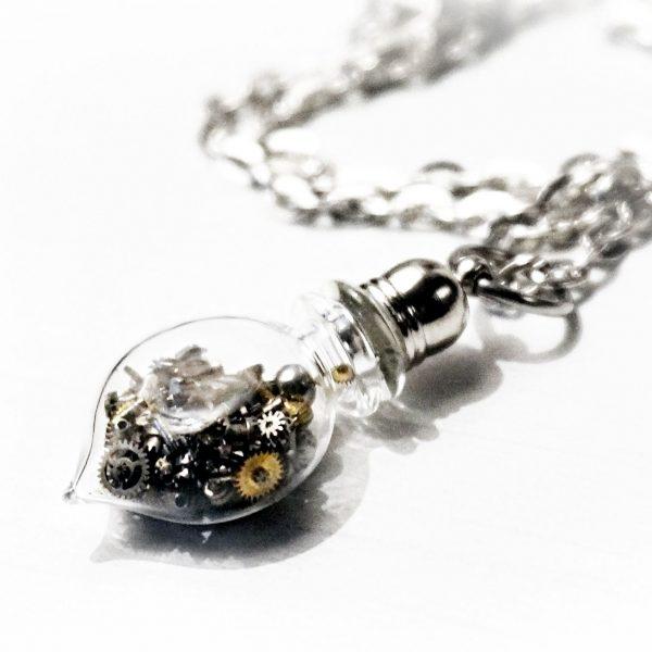 Steampunk BDSM submissive collar bottle necklace pendant