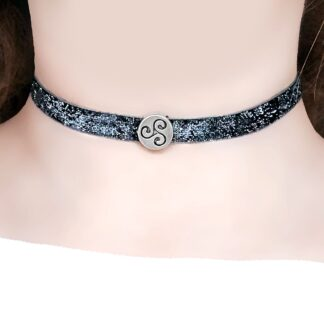 Steampunk BDSM jewelry symbol triskele day collar