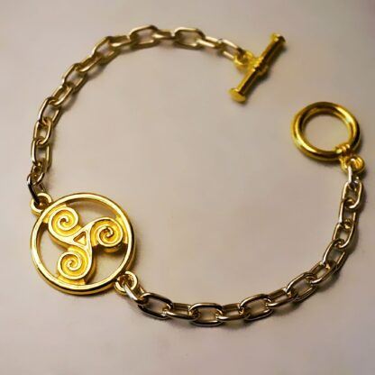 Steampunk BDSM jewelry symbol triskele metal chain bracelet submissive dominant