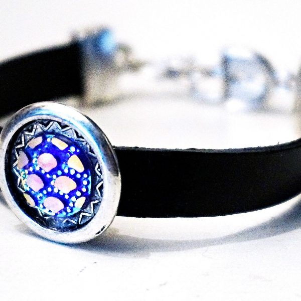 Leather bracelet cuff hippie clothing psychedelic