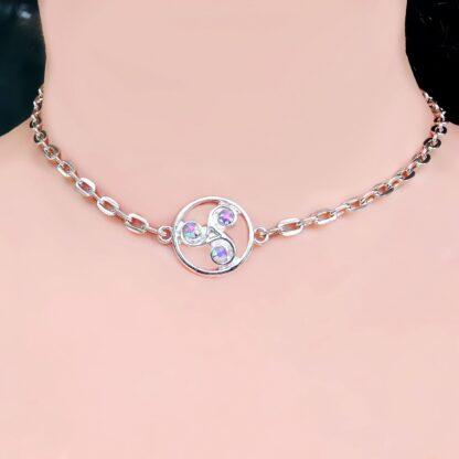 Steampunk BDSM jewelry symbol triskele day collar chain necklace