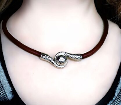 Submissive collar mens women black leather choker Steampunk BDSM