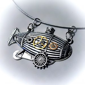 Burning man necklace airship dirigible futuristic industrial