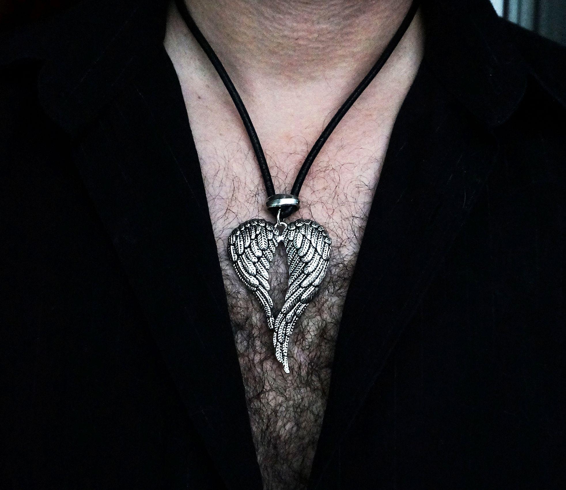 Mens pendant wings BDSM dominant necklace angel demon satanic man