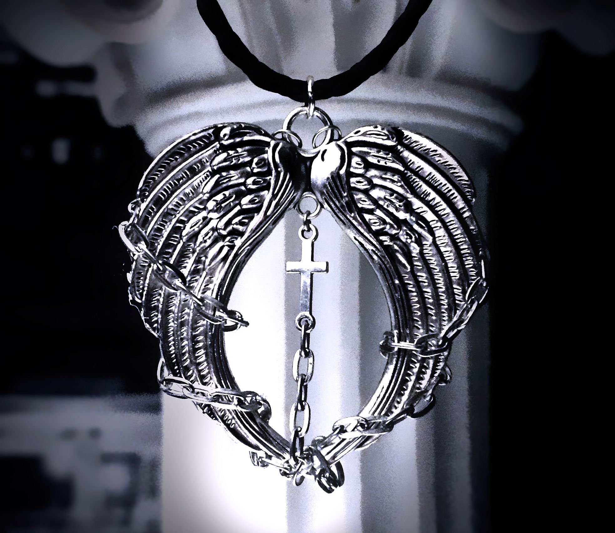 Angel demon satanic wings man jewelry gift anniversary