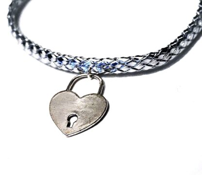 Submissive BDSM collar heart necklace lock choker