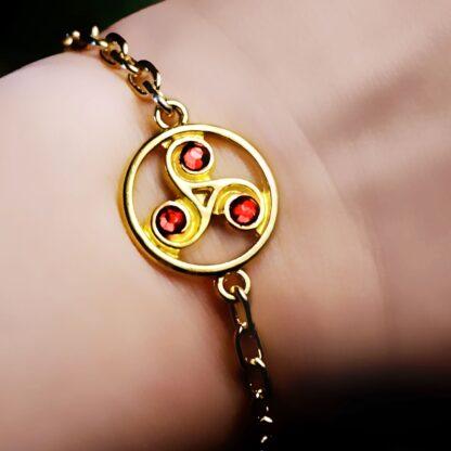 Steampunk BDSM jewelry symbol triskele metal chain bracelet submissive dominatrix woman accessories
