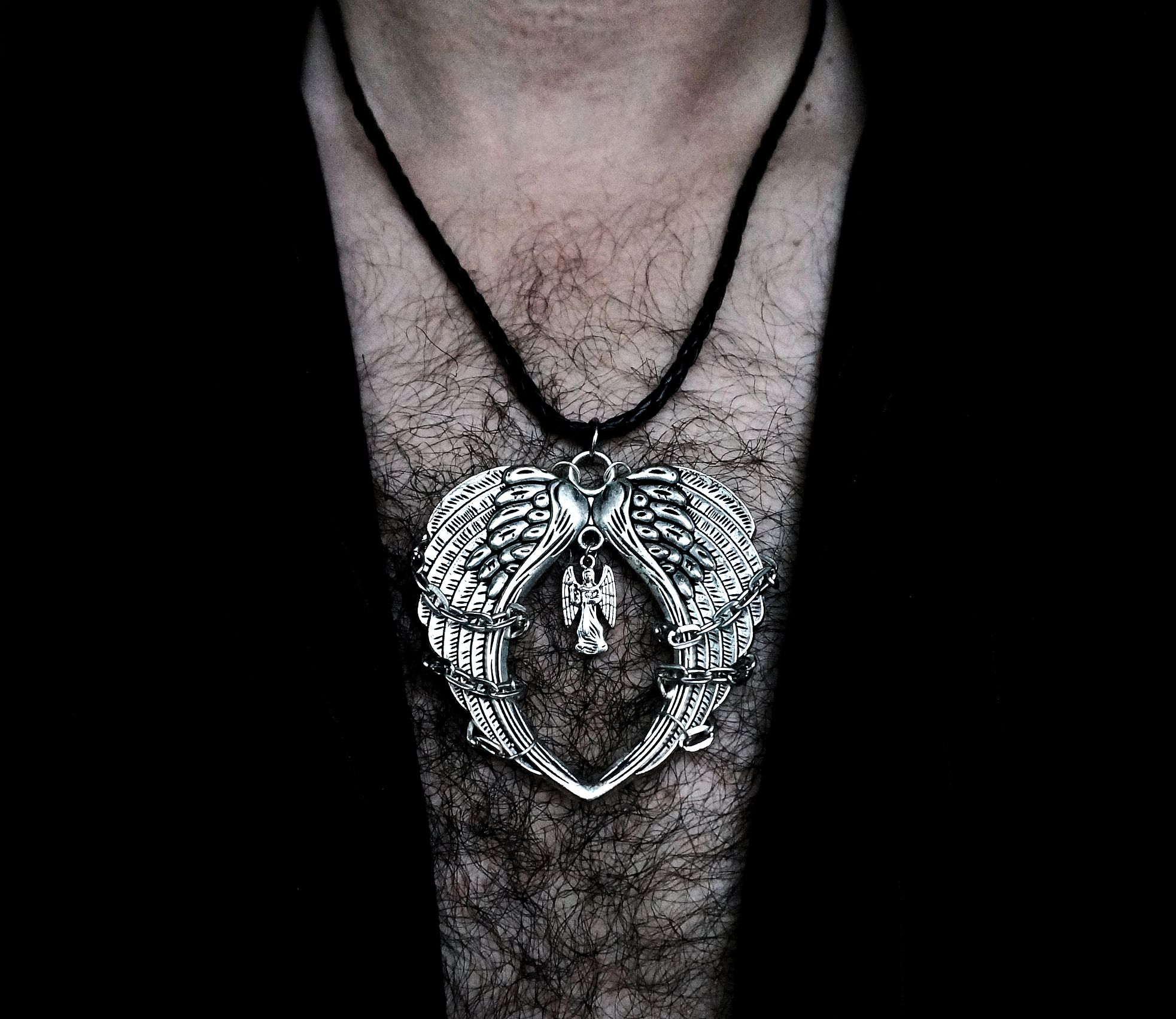 Mens pendant wings BDSM dominant necklace steampunk
