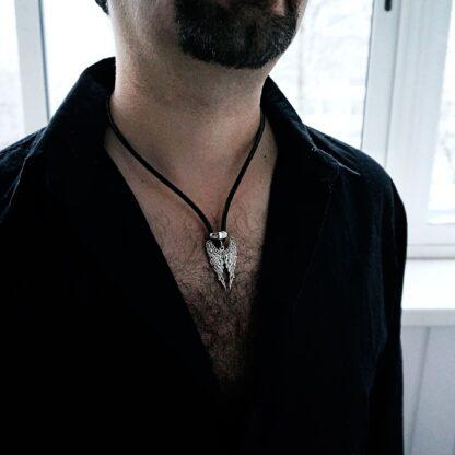 Mens pendant wings BDSM dominant necklace angel demon