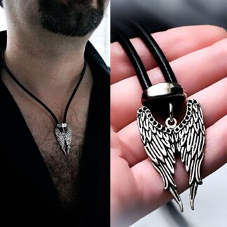 Mens pendant wings BDSM dominant necklace angel demon