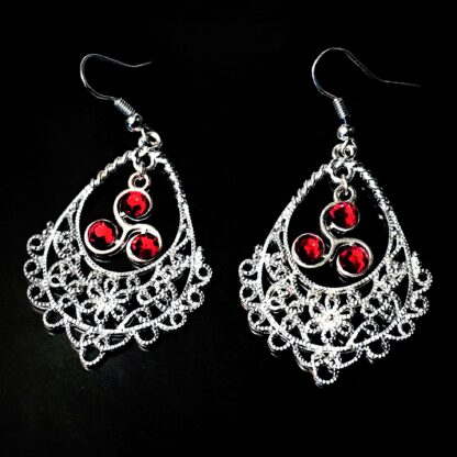 Steampunk BDSM jewelry symbol triskele emblem earrings Marrakesh