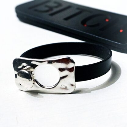 Submissive dominatrix leather lock bracelet