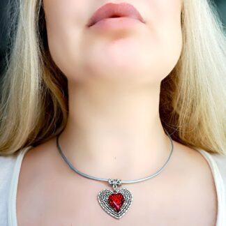 Сабмиссив дневной ошейник БДСМ подвеска сердце кулон