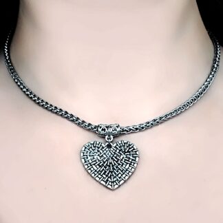 Submissive day collar BDSM chain necklace lock choker heart