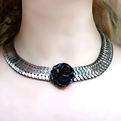Submissive black rose collar BDSM necklace steampunk jewelry